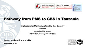 Front cover of PDF document entitled Pathway from PMS to CBS in Tanzania - Implications for Monitoring	of the HIV Care Cascade?