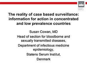 Cover of PDF document entitled The reality of case based surveillance: information for action in concentrated and low prevalence countries