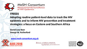 PDF document cover entitled Adopting routine patient-level data to track the HIV epidemic and to inform HIV prevention and treatment strategies: a focus on Eastern and Southern Africa