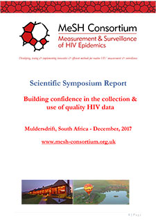 PDF cover for a document entitled Scientific Symposium Report Building confidence in the collection & use of quality HIV data Muldersdrift, South Africa - December, 2017