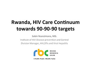 Front cover of a PDF document entitled Rwanda, HIV Care Continuum - Towards 90-90-90 Targets
