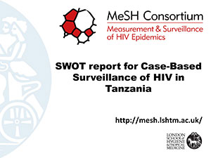 Front cover of PDF document entitled SWOT report for Case-Based Surveillance of HIV in Tanzania