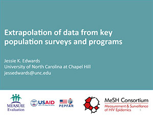 Cover of PDF document entitled Extrapolation of data from key population surveys and programs