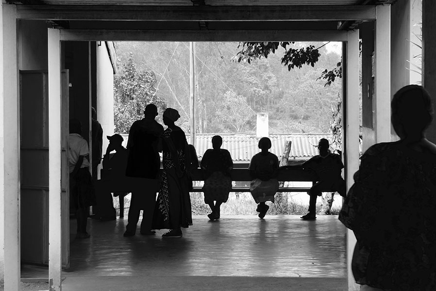 Patients waiting outside a patient treatment center in Africa